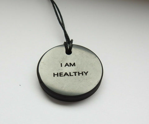 "Shungite ""I am Healthy"" Engraved Pendant"