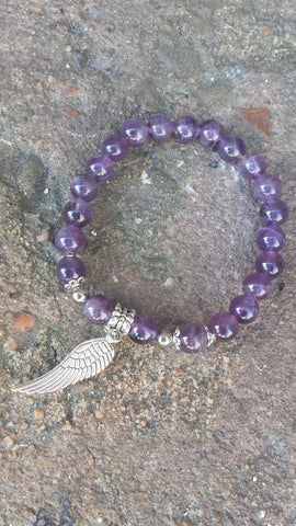 Amethyst Angel Wing Bead Bracelet