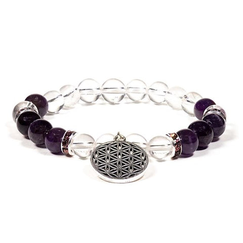 Clear Quartz and Amethyst Flower of Life Bead Bracelet