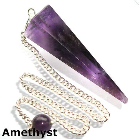 Amethyst Faceted Gemstone Dowsing Pendulum