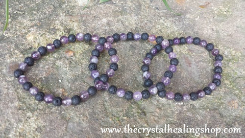 Amethyst and Lava Rock Bead Bracelet