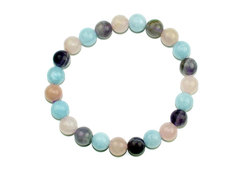 Amethyst, Rose Quartz and Aquamarine Bead Bracelet