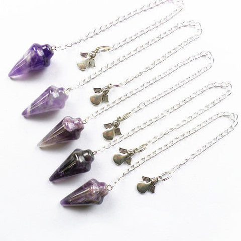 Amethyst Gemstone Pendulum with Tibetan Silver Angel Bead - The Crystal Healing Shop