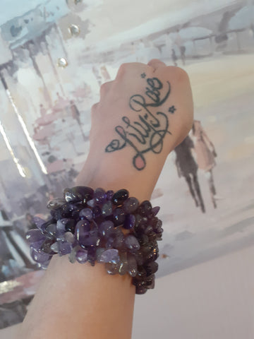 Amethyst Wide Style Chipped Bracelet