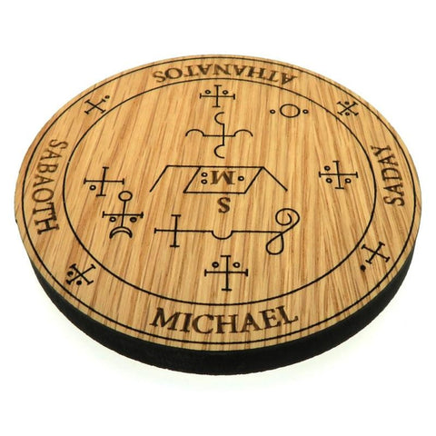 Oak Veneer Angel Michael Crystal Grid Board