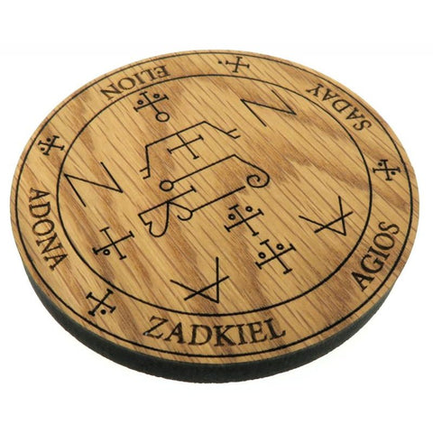Oak Veneer Angel Zadkiel Crystal Grid Board