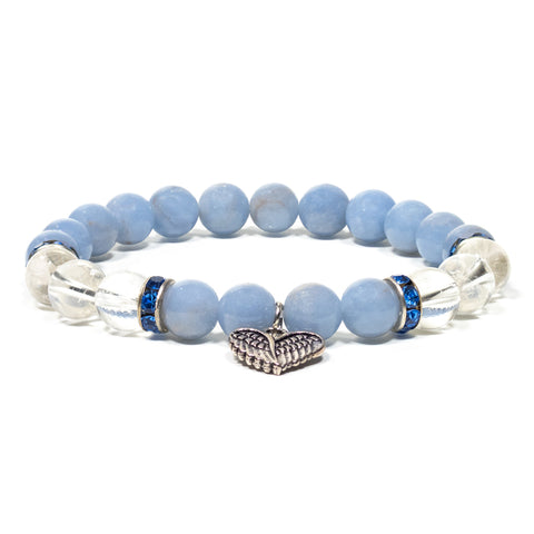 Angelite and Clear Quartz Angel Wing Bead Bracelet
