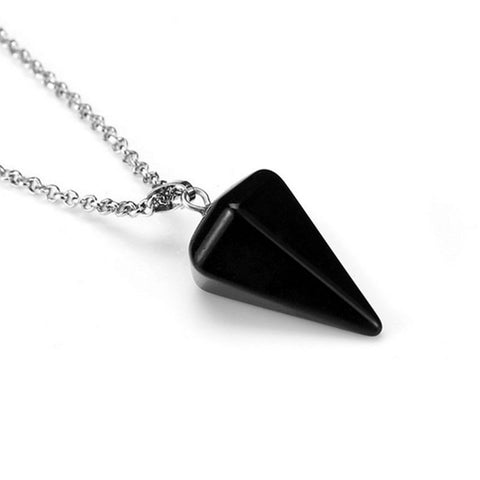 Black Agate Faceted Pendulum Pendant