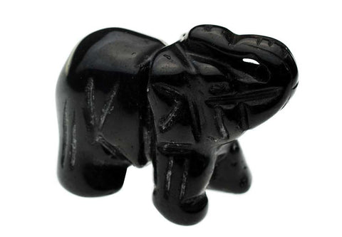 Black Obsidian Carved Elephant