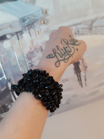 Black Onyx Wide Style Chipped Bracelet