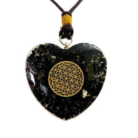 Black Tourmaline Flower of Life Orgone Heart Pendant