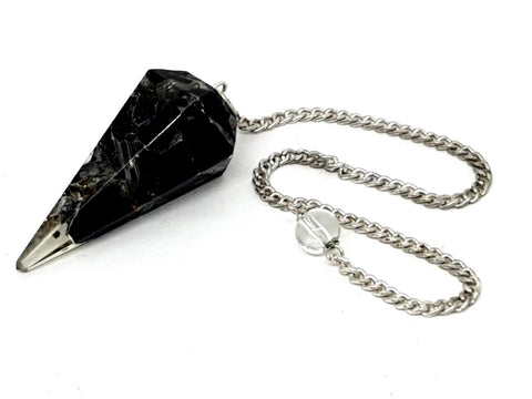 Black Tourmaline Faceted Orgone Dowsing Pendulum