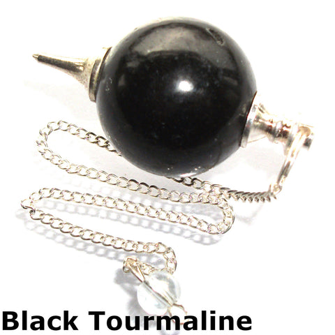 Black Tourmaline Sphere Gemstone Dowsing Pendulum