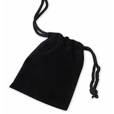 Black Velvet Drawstring Gift Bag - 7cm x 9cm - The Crystal Healing Shop