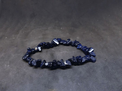Blue Goldstone Gemstone Chip Bracelet