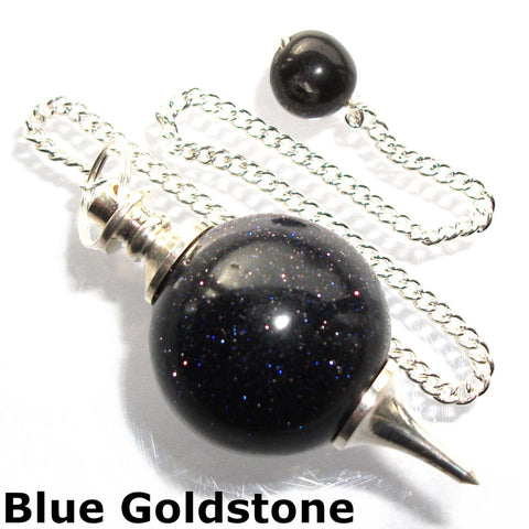 Blue Goldstone Sphere Gemstone Dowsing Pendulum