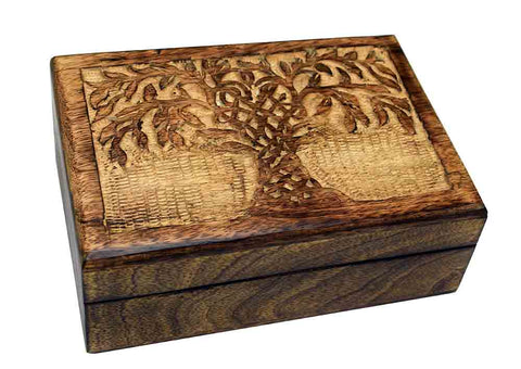 Large Carved Tree Design Wooden Box