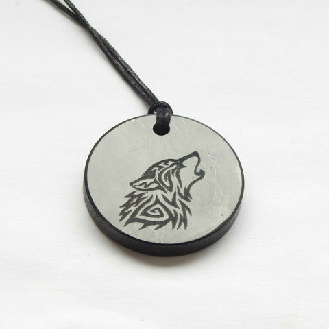 Shungite Celtic Wolf Engraved Pendant