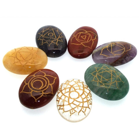Chakra Engraved Polished Palm Stone Set