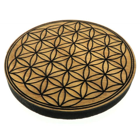 Oak Veneer Flower of Life Crystal Grid Board