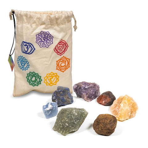 Gift Bagged Rough Crystal Chakra Set