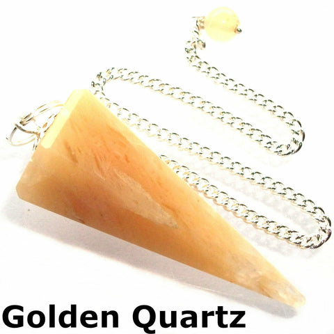 Golden Quartz Faceted Gemstone Dowsing Pendulum