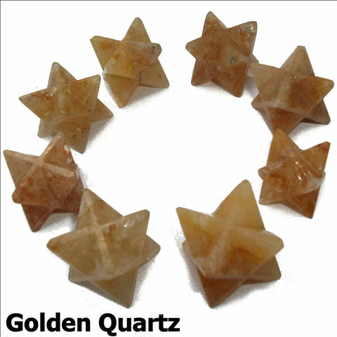 Golden Quartz Polished Merkaba Star