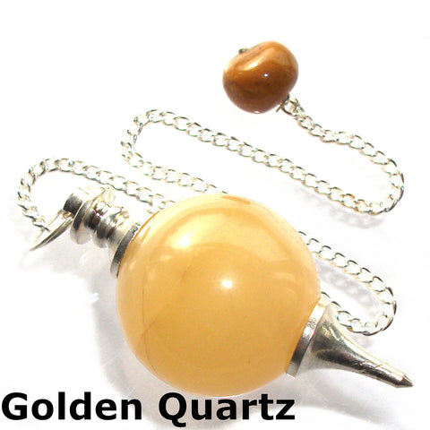 Golden Quartz Sphere Gemstone Dowsing Pendulum