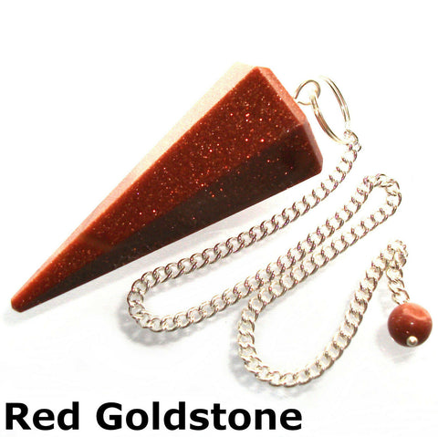 Goldstone Faceted Gemstone Dowsing Pendulum