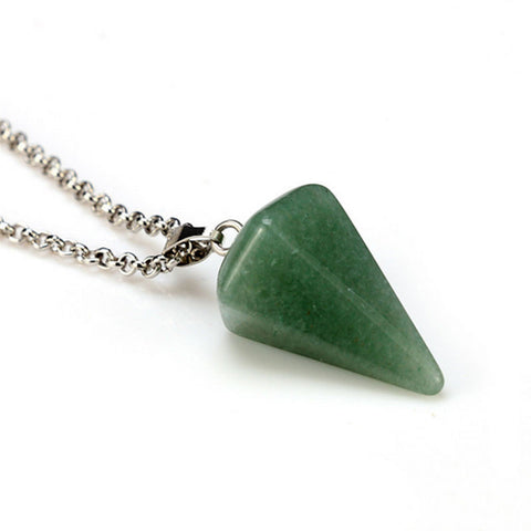 Green Aventurine Faceted Pendulum Pendant