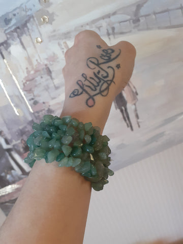Green Aventurine Wide Style Chipped Bracelet