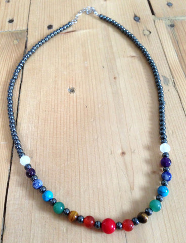Hematite Chakra Bead Necklace - The Crystal Healing Shop