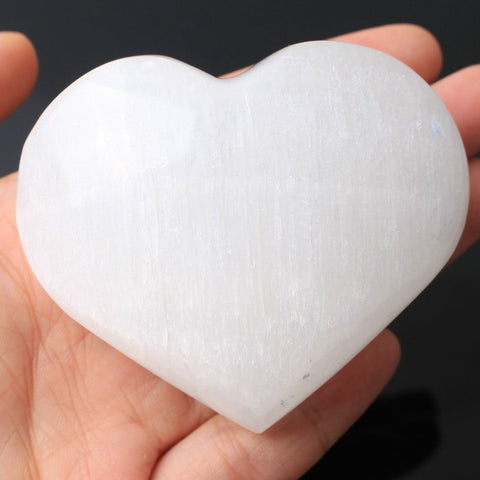 Extra Large Polished Selenite (Satin-Spar) Heart