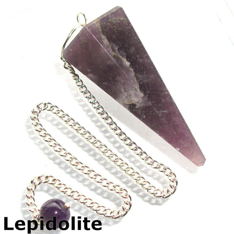 Lepidolite Faceted Gemstone Dowsing Pendulum