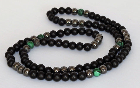 Malachite Hematite and Matt Black Onyx Bead Necklace