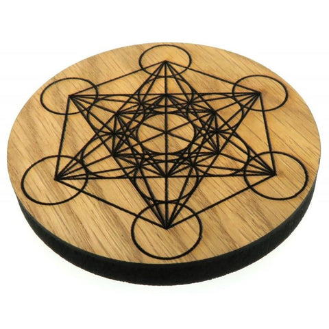 Oak Veneer Metatron Cube Crystal Grid Board