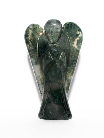 Moss Agate Carved Angel - 5 cm
