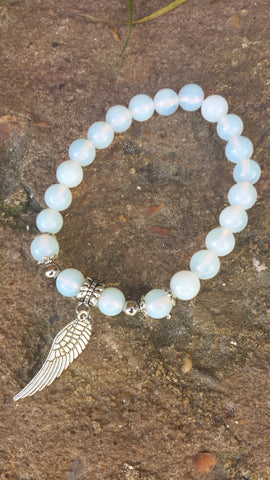 Opalite Angel Wing Bead Bracelet
