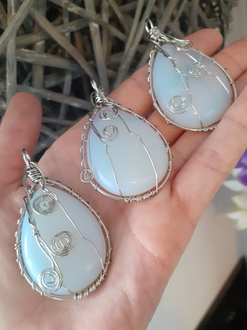 Large Opalite Wire Wrap Pendant
