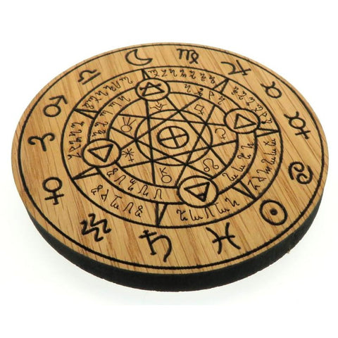 Oak Veneer Planetary Protection Crystal Grid Board