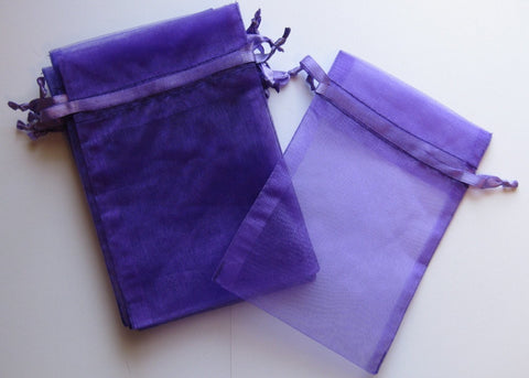 Organza Bag - Purple - 7cm x 9cm - The Crystal Healing Shop