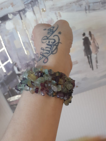 Rainbow Fluorite Wide Style Chipped Bracelet