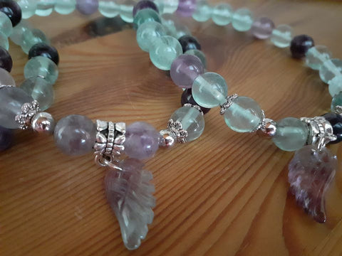 Rainbow Fluorite Angel Wing Bead Bracelet