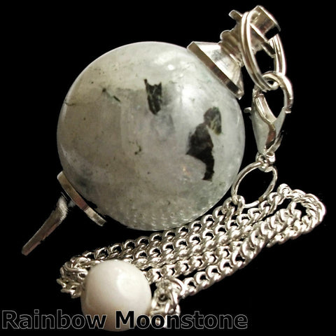 Rainbow Moonstone Sphere Gemstone Dowsing Pendulum