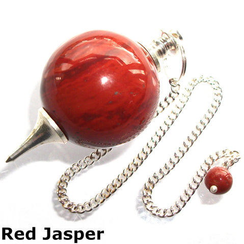 Red Jasper Sphere Gemstone Dowsing Pendulum
