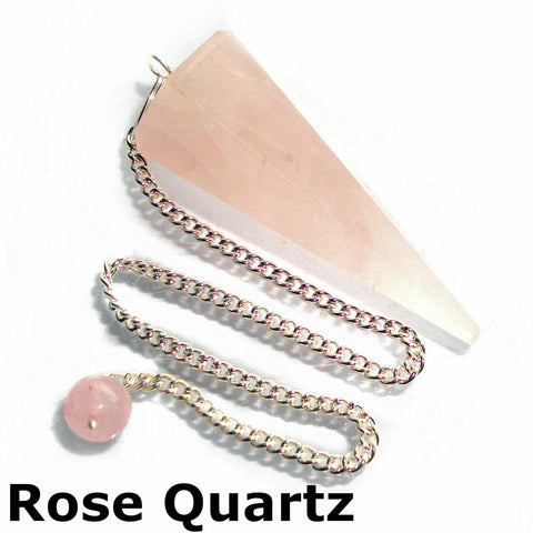 Rose Quartz Faceted Gemstone Dowsing Pendulum