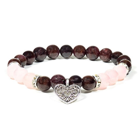 Rose Quartz and Garnet Heart Bead Bracelet