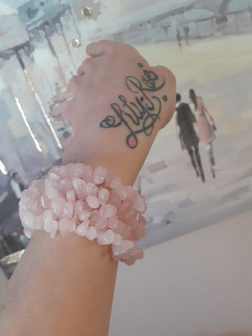 Rose Quartz Wide Style Chipped Bracelet