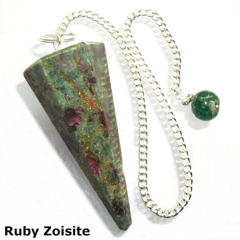 Ruby in Zoisite Faceted Gemstone Dowsing Pendulum