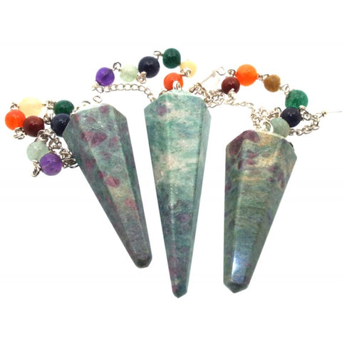 Ruby in Zoisite Faceted Chakra Gemstone Dowsing Pendulum
